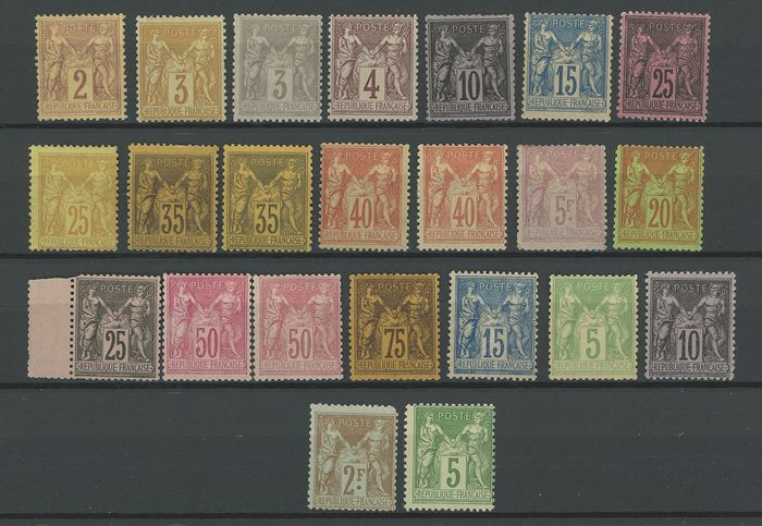 Frankrijk 1878/1900 - A lovely set of classic type Sage stamps, mint... Value: over 6700. - Yvert Entre les n°85 et 106