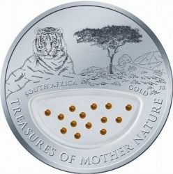 """Fiji. 1 Dollar 2012 Proof """"Treasures of Mother Nature - Gold, South Africa"""""""