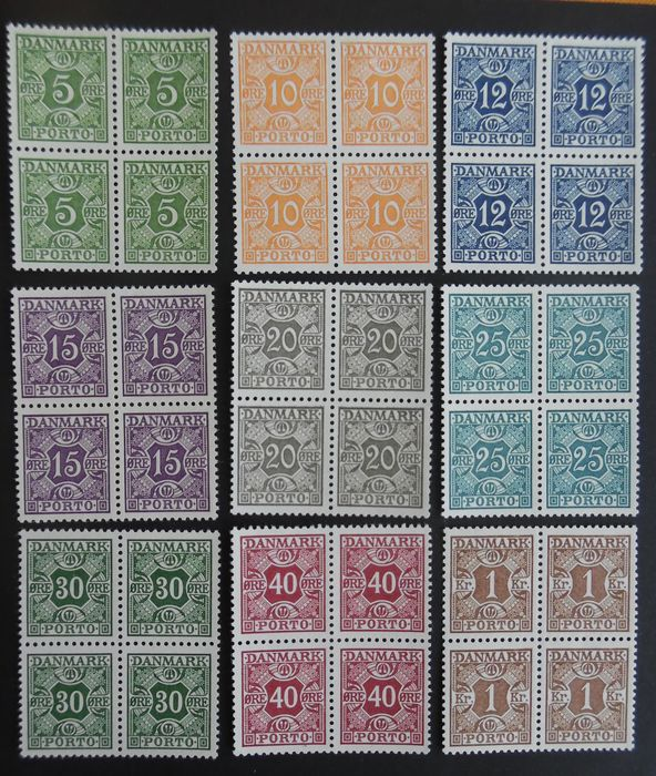 Denmark 1934 - Postage due - Perfect mint MNH blocks of 4 stamps.
