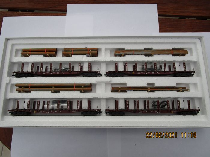 Märklin H0 - 47319 - Goederenwagenset - Staaltransport: set met 4 rongenwagens Snps - DB