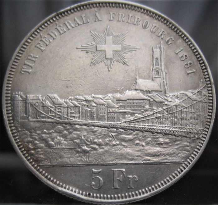 Suiza. 5 Francs 1881 'Shooting Festival Fribourg'