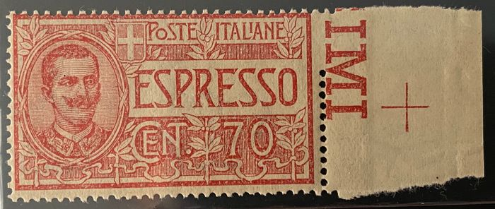 Italië Koninkrijk 1925 - Express stamps - Victor Emmanuel II, 70 cents red with incomplete vertical perforation on the right, - CEI N. 11f