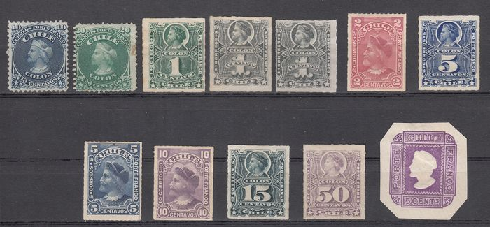 Chili 1868 - Chile 1868/1880 - Selection of the first stamps of Chile, mint - Michel primi numeri