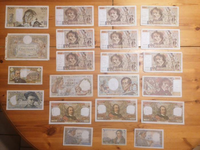 France - 22 banknotes - Various dates