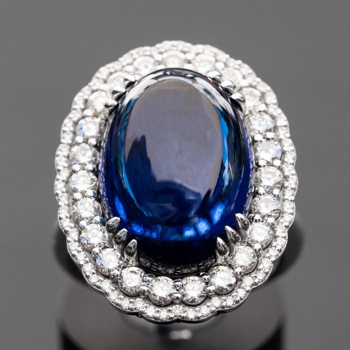 Large Oval Sapphire Ring with Diamonds - 14 kt Weißgold - Ring - 14.47 ct Saphir - Diamanten, 1,44 ct natürliche Diamanten - D / VVS
