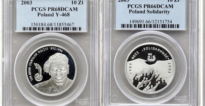 Poland. 10 Zlotych 2005 'Solidarity' + 2003 'General Maczek' Proof (2 coins) in PCGS slab