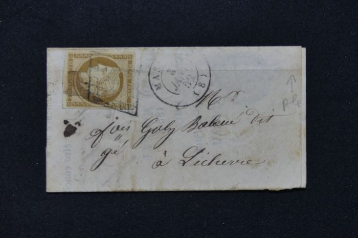 Frankrijk - No. 1 type Ceres, 10 cts bistre on small letter from 1852 The stamp is well-margined. See crease.