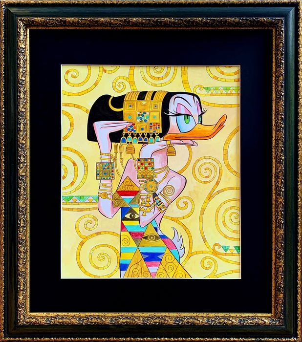 Daisy inspired by Gustav Klimt - Original Painting - Tony Fernandez Signed - Framed