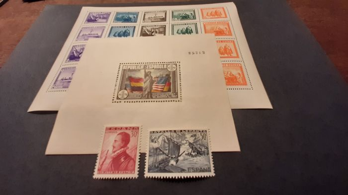 Hiszpania 1938 - 150th Anniversary of the USA Constitution, Army and Navy sheet and Battle of Lepanto stamps from - Edifil 764 + 849 + SH 862/863