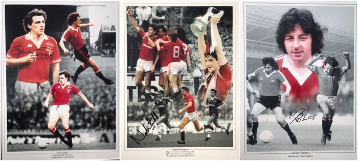 Manchester United FC - Fußball-Bundesliga - Steve Coppell, Norman Whiteside and Micky Thomas - Autogramm, Foto