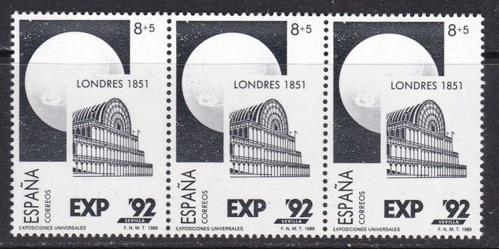 Espagne 1989 - Universal Exhibition in Seville. Variety with missing colour in horizontal triplet - Edifil 2990
