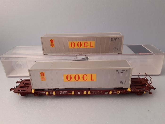 Roco, Athearn H0 - Freight carriage - container carrier wagon T3 incl 2x 40ft container - AAE