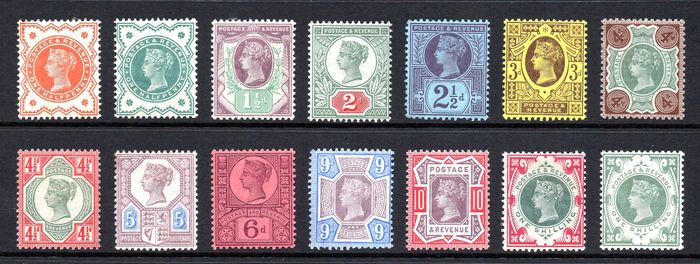 Groot-Brittannië 1887/1892 - QV Jubilee Complete Set Fine Mint Hinged/Mint Never Hinged - Stanley Gibbons 197 - 214