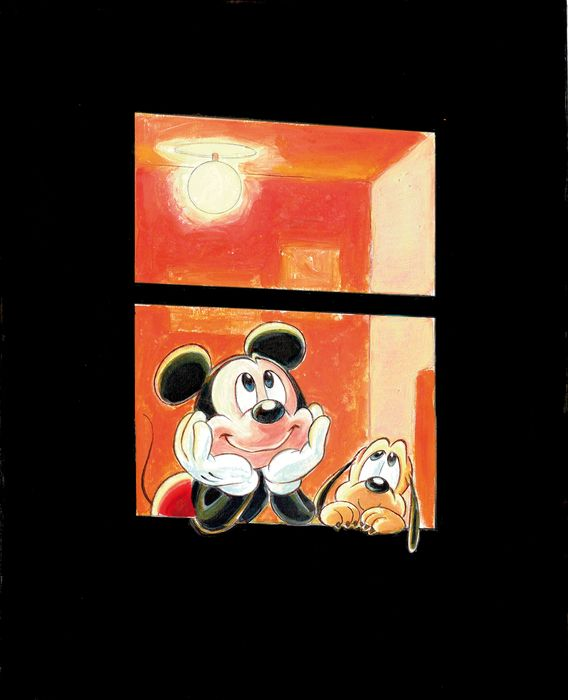 Mickey & Pluto Looking At The Stars - Fine Art Giclée on Canvas - Tony Fernandez Signed - First edition