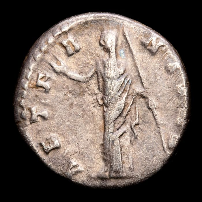Roman Empire. Faustina I († AD 140/1). AR Denarius,  Rome mint - AETERNITAS, Aeternitas standing facing, head left, raising arm and holding scepter