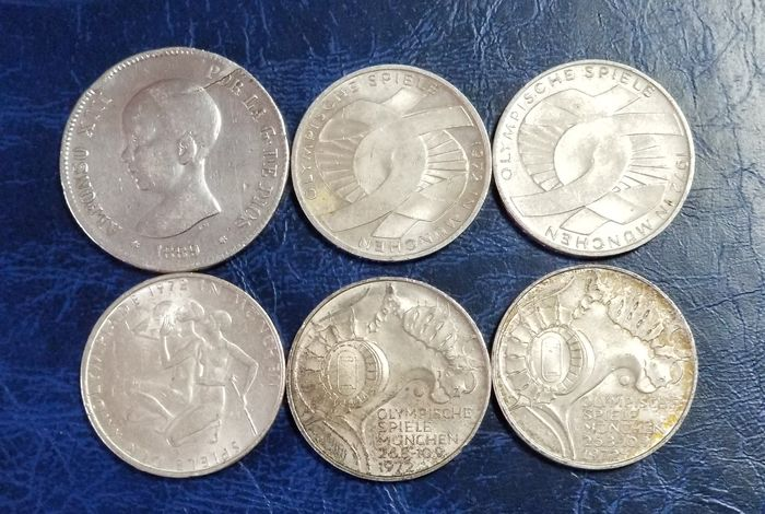 Germany & Spain. 1889-1972, 6 Coins