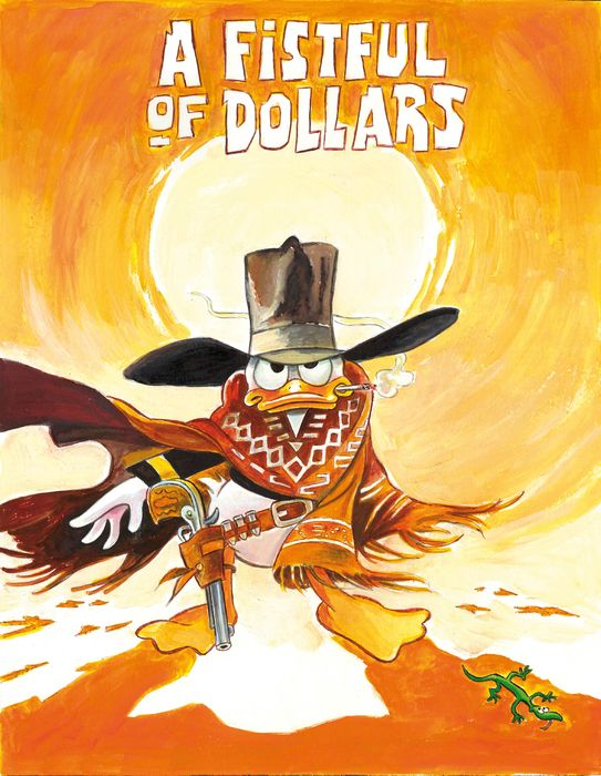 "Donald Duck inspired by Clint Eastwood in ""A Fistful Of Dollars"" - Large Giclée Signed By Tony Fernandez - Canvas - 60 x 43 cm - Erstausgabe"
