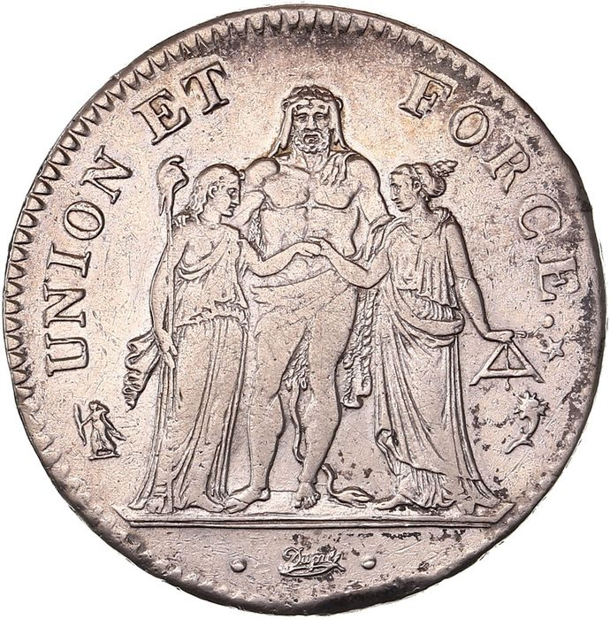 France. Directoire (1795-1799). 5 Francs An 5-A Union et Force