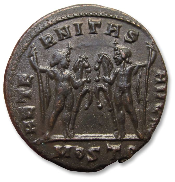 Roman Empire. Maxentius (AD 306-312). AE 27mm follis,  Ostia mint AD 309-312 - mintmark MOSTS, the Dioscuri with horses -
