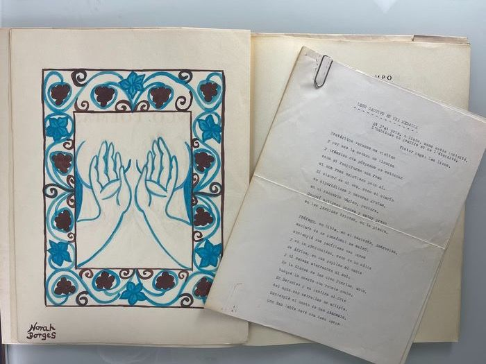 Signed; Silvina Ocampo & Norah Borges - Cinco Poemas. Privately Printed, with Original Watercolour by Norah Borges 1901-1998 - 1973