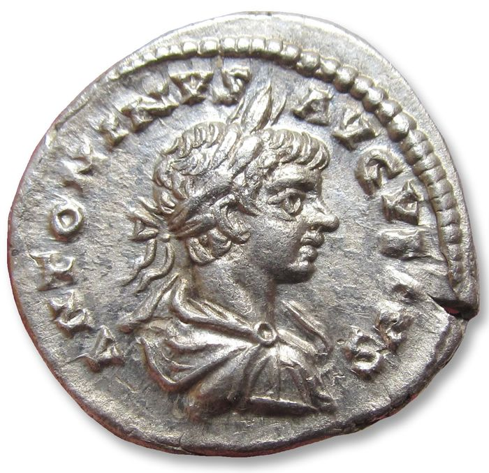 Roman Empire. Caracalla (AD 198-217). AR Denarius,  Laodicea ad Mare mint 200-201 A.D. - P MAX TR P III, Roma seated left on shield