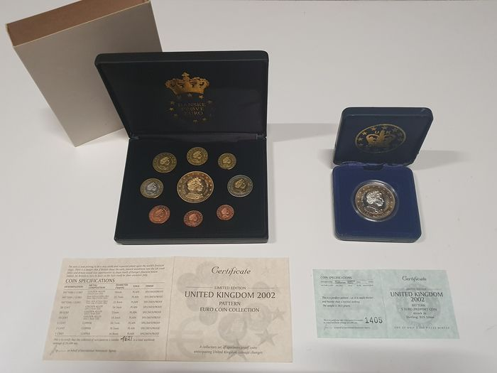 United Kingdom. Pattern euro coin collection 2002 1 cent tm 5 euro+ 5 Euro 2002 piedfort pattern .925 silver(34,5gr)