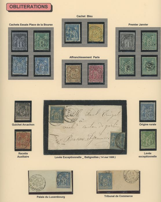 Frankrijk 1876/1900 - A very lovely study of cancellations on Sage stamps, type I and II. - Yvert Entre les n°61 et 106