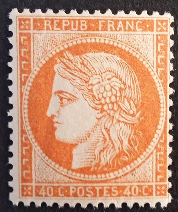 Frankrijk 1870 - Ceres, perforate, 40 centimes orange. - Yvert 38