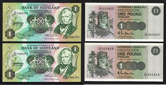 Scotland - 4 x 1  Pairs Pound 1981/1983 - 2 pairs - Pick 111e and 211b