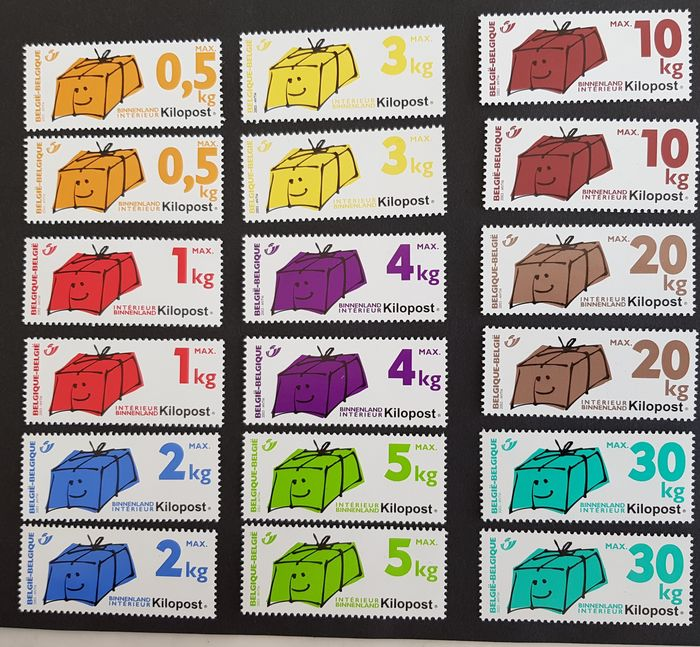 Belgium - Two complete sets of kilopost 2003 Ki 1/9 in MNH