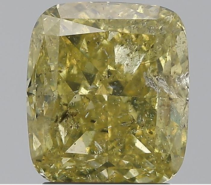 1 pcs Diamant - 2.02 ct - Coussin - Natural Fancy Brownish Greenish Yellow - GIA Certified * No Reserve Price *