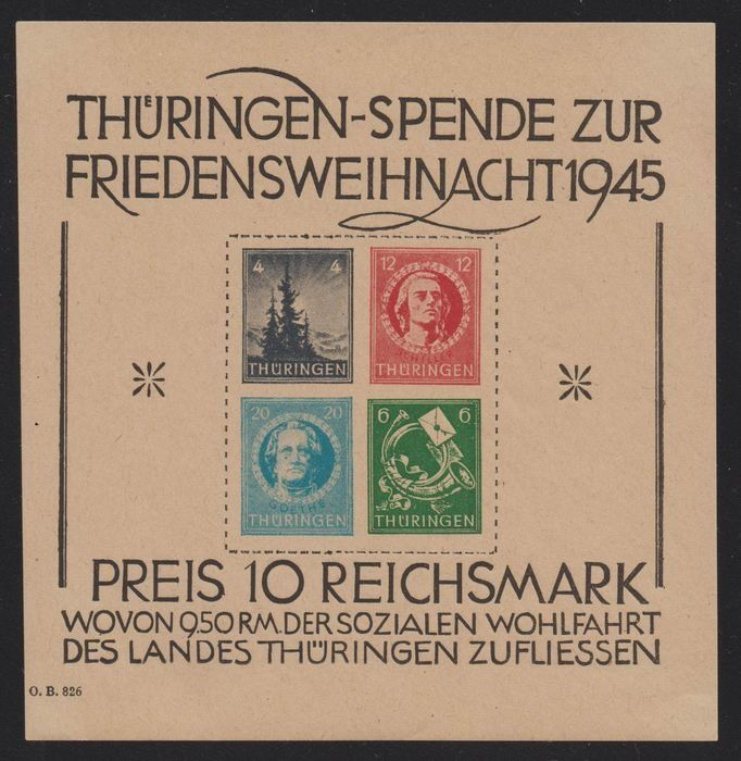 """Allied Occupation - Germany (Soviet zone) 1945 - Thuringia """"Christmas Block"""" - Michel 2t"""