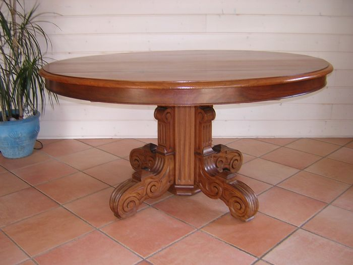 Extending table, 5 extensions - 3.80 m - Mahogany, Wood - Late 19th century