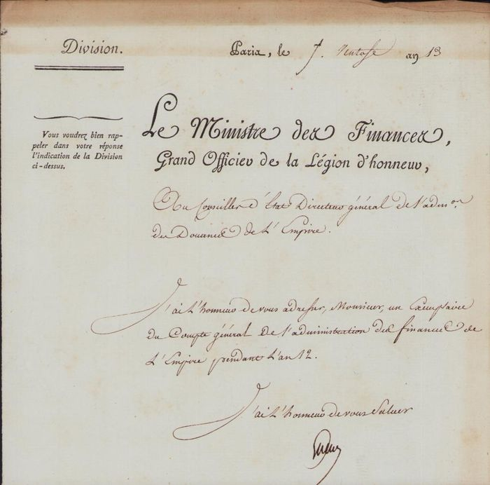 Martin Michel Charles Gaudin Duke of Gaeta - Autograph; Letter from Paris of the Finance Minister of the First French Empire - 1805