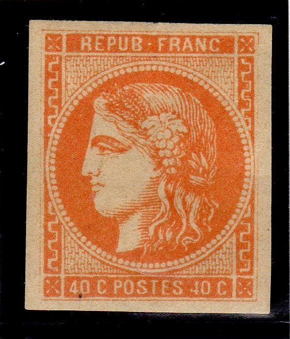 France 1870 - No. 48 Bordeaux issue, 40 centimes orange, value: 750 euros, 4 lovely margins, VVF, signed Calves. - Yvert 48