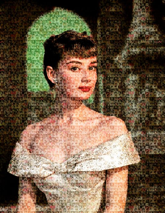 Audrey Hepburn - Kunstwerk, Digital photomosaic on forex (50x40 cm) by Artist F. Ottobre - see images