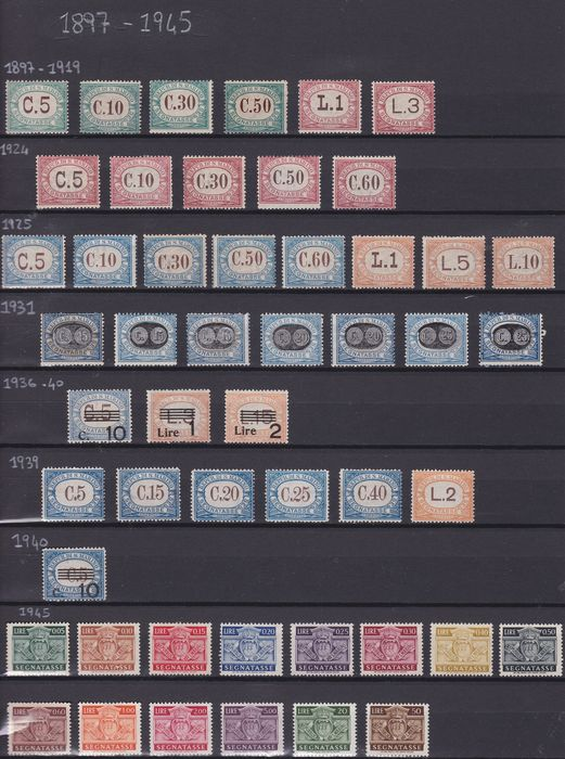 Saint-Marin 1897/1945 - Postage-due stamps, selection of stamps of the period.