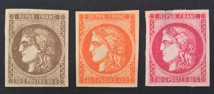 France 1870 - Classic stamps issue Bordeaux 30c Brown, 40c orange, 80c pink - Yvert 47-48-49