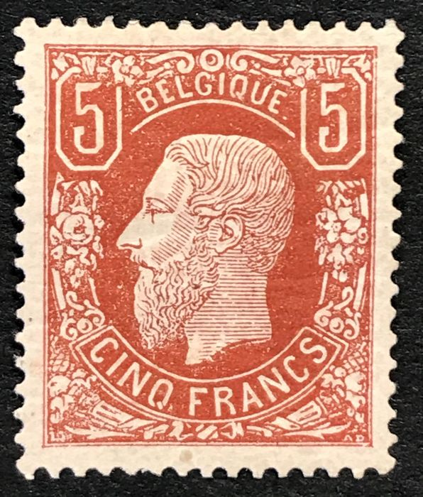 Belgium 1869 - Leopold II issue 1869 - 5 francs - Perfectly centred - Soeteman certificate - OBP / COB 37