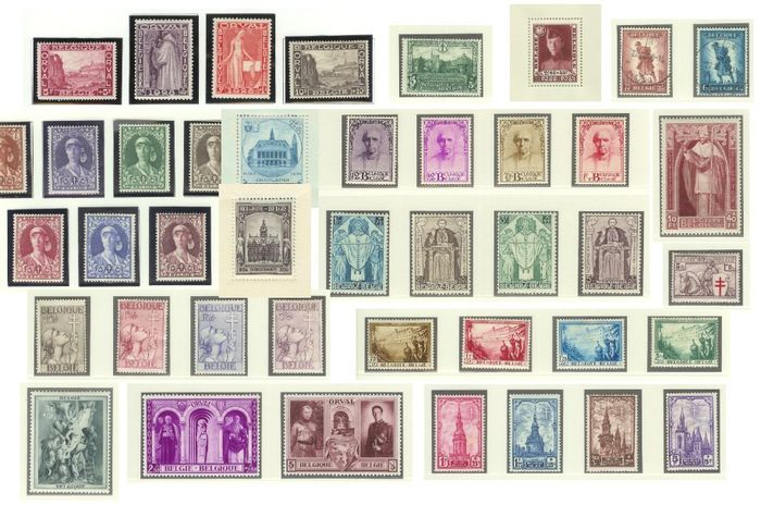 Belgium 1928/1939 - Collection with First Orval, Castles, Nurse, Mercier, De Dennen, Cross of Lorraine, Knight - OBP / COB tussen 258 en 526 + BL3 + BL5A + BL6 + BL8 + PA1/7