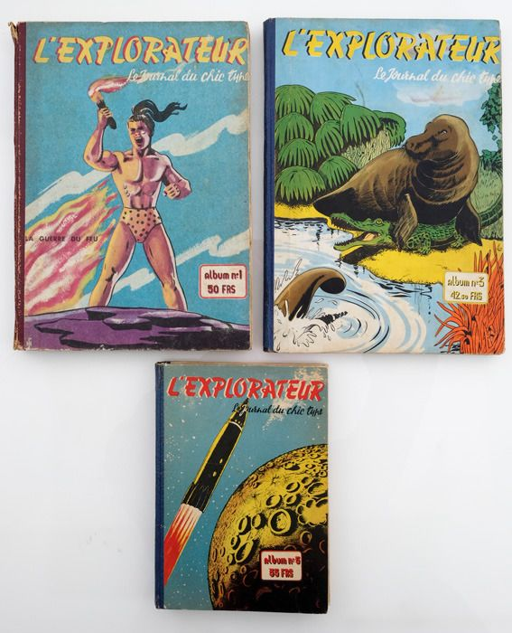 L'Explorateur - Albums 1+3+5 de L'Explorateur, le journal du chic type - Hardcover - Eerste druk - (1949/1950)