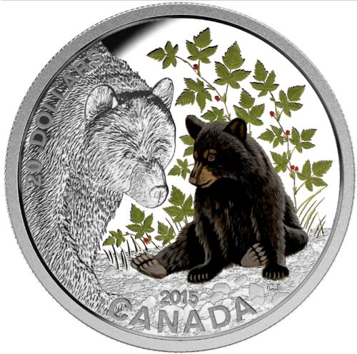 Canada. 20 Dollars 2015 Proof 'Baby Animals - Black Bear' 1oz.
