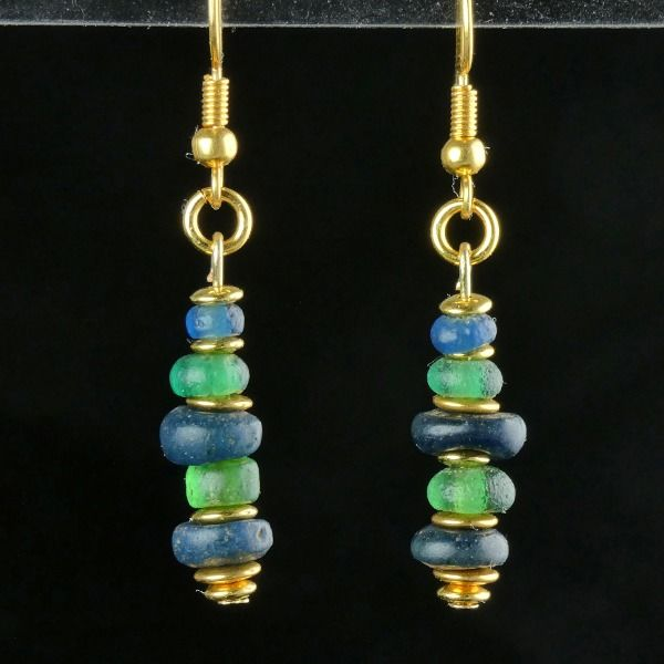 Ancient Roman Glass Earrings with blue and green glass beads - (1)