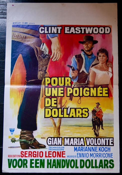A Fistful of Dollars (1964) - Clint Eastwood - Lot of 2 - Poster, Original Belgian Cinema release - First release (1964) & re-release