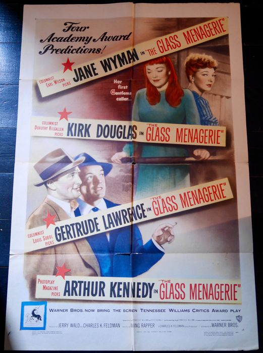 The Glass Menagerie (1950) - Kirk Douglas - Poster, Original 1950 US Cinema Release - 1 Sheet