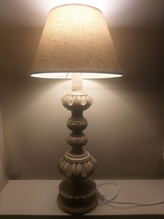 French table lamps in solid wood, carved lacquered in white year 1940 (1) - Louis XIV Style - Wood, Oak, lacquer, oil