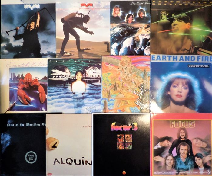 Focus, Alquin, Kayak and Earth and Fire - 12 Albums Progressive and Symphonic Rock from Holland - Multiple titles - 2xLP Album (double album), LP's - 1971/1983