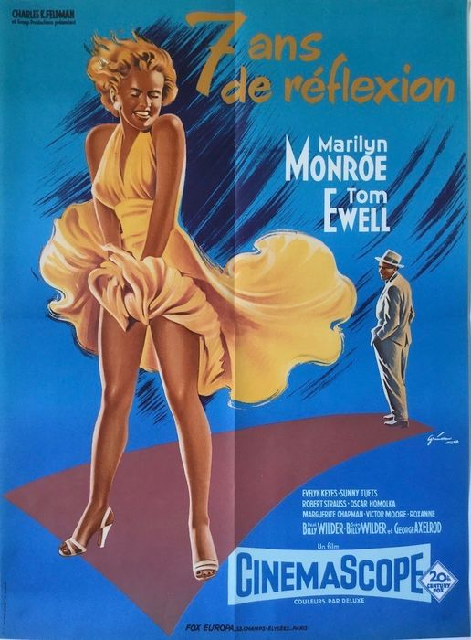The Seven Year Itch (1955) - Marilyn Monroe - Poster, Original 1980 French Cinema re-release