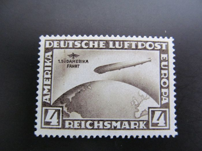 """German Empire - German Reich, no. 439X I, 1930, """"Mouth"""" over Airship, Plate error, MH"""