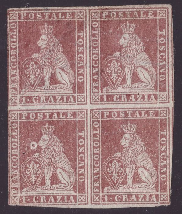 Italiaanse oude staten - Toscane 1851 - 1 crazia carmine brown on grey, first issue, block of four - Sassone N. 4e